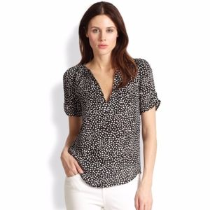 Joie Heart Printed Silk Blouse XS